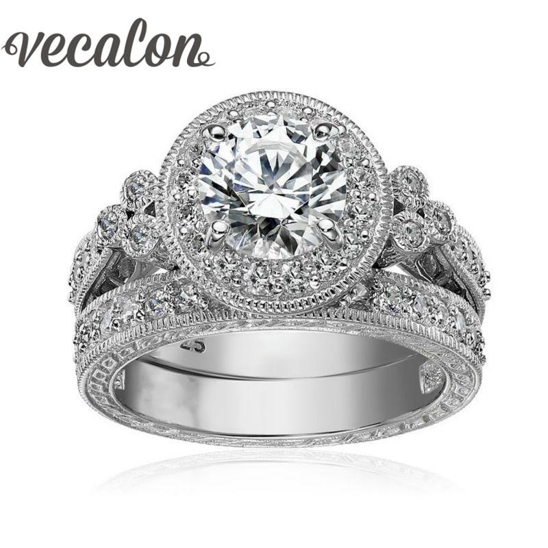 Vecalon Monili Antichi Del Fiore Delle Donne anello Rotondo cut 2ct AAAAA Zircone Cz 925 Sterling Silver Femminile wedding Band Set di anelli