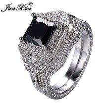 JUNXIN Diseño Geométrico Negro Anillo de Circón AAA de Los Hombres de Las Mujeres Fijó Nueva Moda Crystal Oro Blanco Llenó el anillo de Boda Anillos de Compromiso