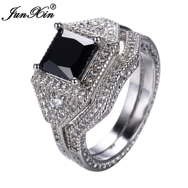 JUNXIN Black Geometric Design AAA Zircon Men Women's Ring Set New Fashion Crystal White Gold Filled Wedding Engagement Rings