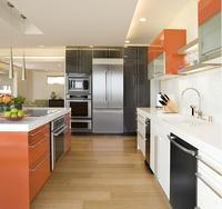 2019 ホット販売モダンなキッチンキャビネット白色現代の高光沢ラッカーキッチン家具パントリー L9003