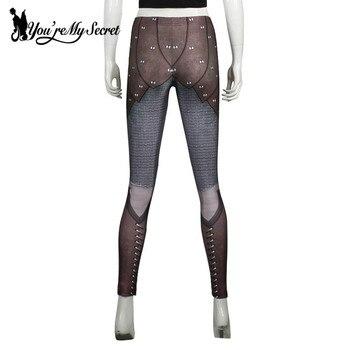 [You're My Secret] Retro Mesh Legging Women Armor Comic Cosplay Slim Leggings Women Digital Print Leggins Workout Fitness Pants 4