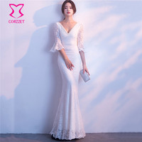 White Floral Lace Sexy Club Dresses Beaded V neck Backless Half Sleeve Mermaid Long Elegant Dress Women Party Wedding Wear 2018