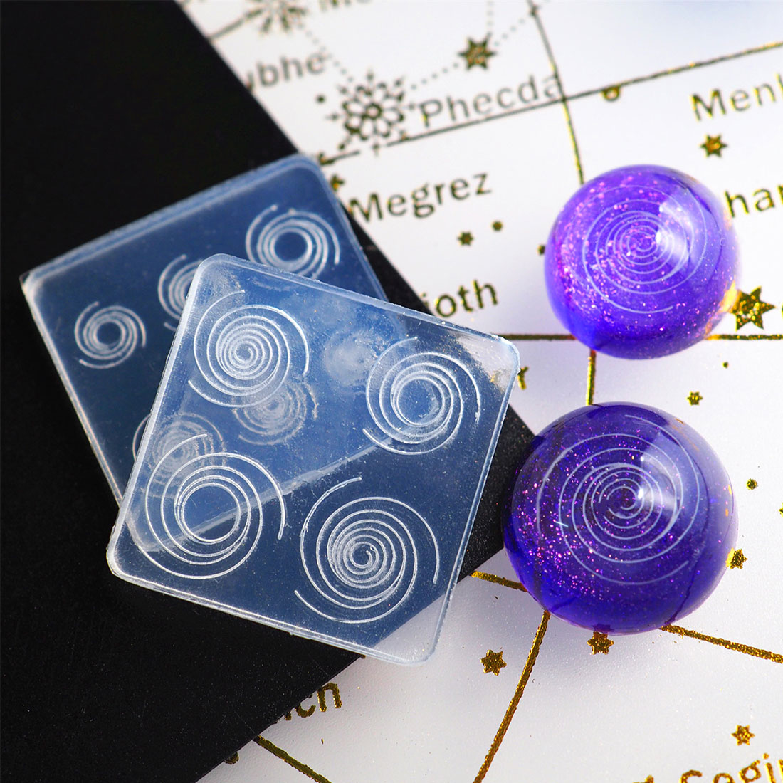 epoksi silikon kalip Silicone Mould Resin Decorative Craft DIY Starry sky spiral Mold epoxy resin molds for jewelry making filli in Jewelry Tools Equipments from Jewelry Accessories