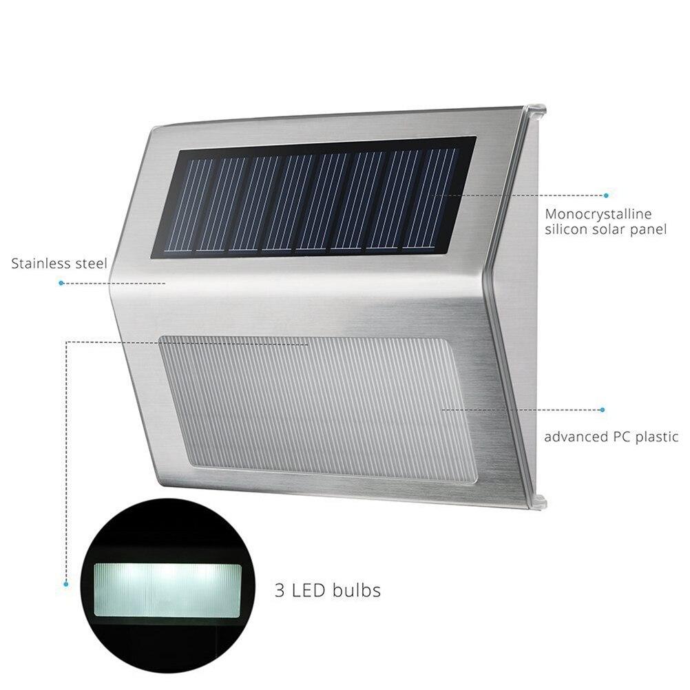 6Pcs Led Outdoor Wall Solar Light Home Garden Waterproof Lighting ...