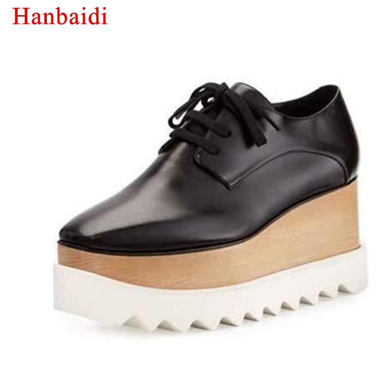 Hanbaidi Women Pumps Fashion Stars Loafer Shoes Lady Square Toe lace-up Thick Bottom Platform Wedge Shoes For Women Causal Shoes forudesigns fashion women casual slimming swing shoes graffiti pattern wedge platform shoes for female lady lace up shape ups