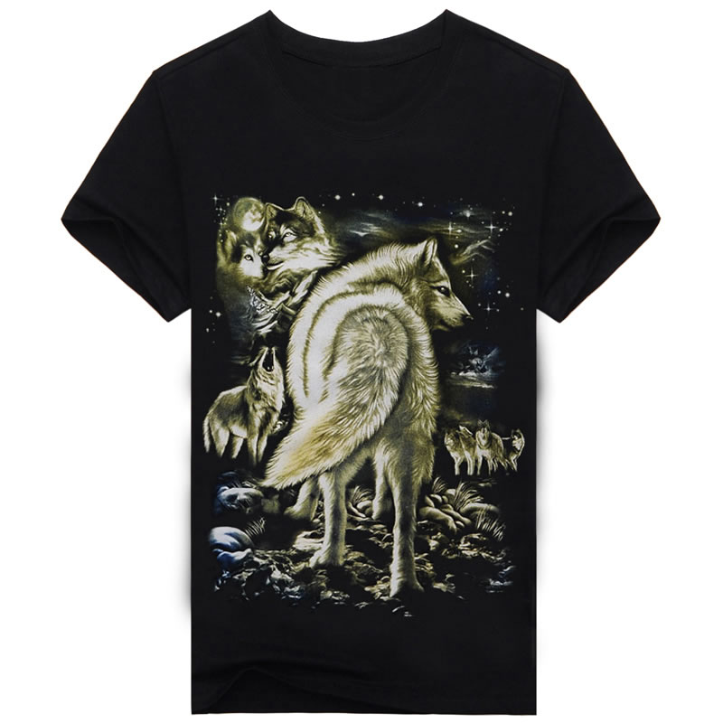 Short sleeves Cotton T-shirts Black Wolf Casual 3D Print T Shirt O-neck Popular Famous Brand Short sleeves Animal Fashion A249