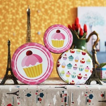 3pcs/set Round Metal Storage Box Biscuit Tin Storage case Ch