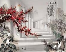 Beibehang 3d wallpaper plum blossom ink landscape painting TV background home decoration living room bedroom