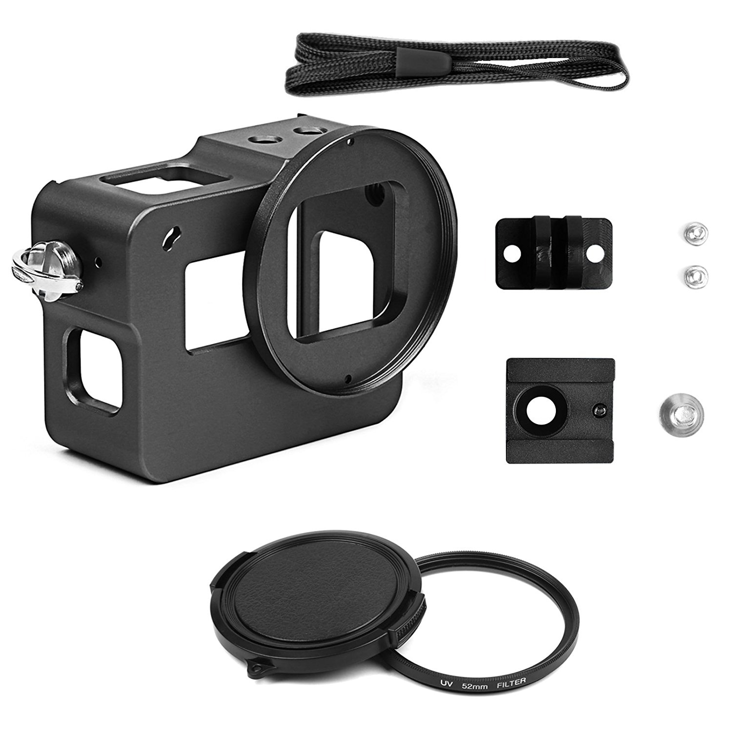 SHOOT Protective Shell Aluminium Alloy Metal Case with 52mm UV Filter, Rear Cover, Hot Shoe for Gopro 5(Black)