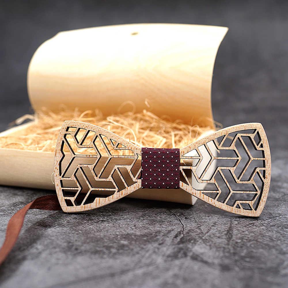 MAHOOSIVE Tasche Platz Taschentücher Holz Bowtie Manschettenknöpfe Set Für Männer Business Anzug Hanky Krawatte Holz Krawatte Bogen Krawatten