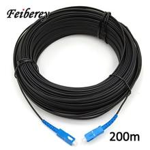 200 метров волоконно оптический кабель SC/UPC Одномодовый симплексный бабочка форма открытый дальний тройной стальной провод оптический кабель