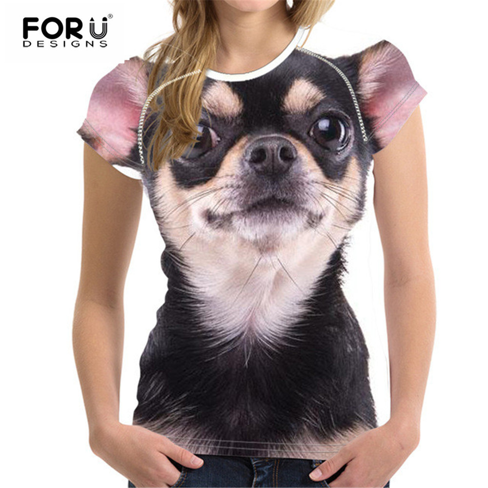 FORUDESIGNS Kawaii Chihuahua Women T Shirt Summer Woman Tops Female Shirts For Girls Short Sleeved Tees T-Shirts Pomeranian Tees