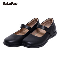 Kalupao Uniforms School Shoes Girls Leather Oxfords Black Dress Shoes Simple Style Girls Flats Shoe
