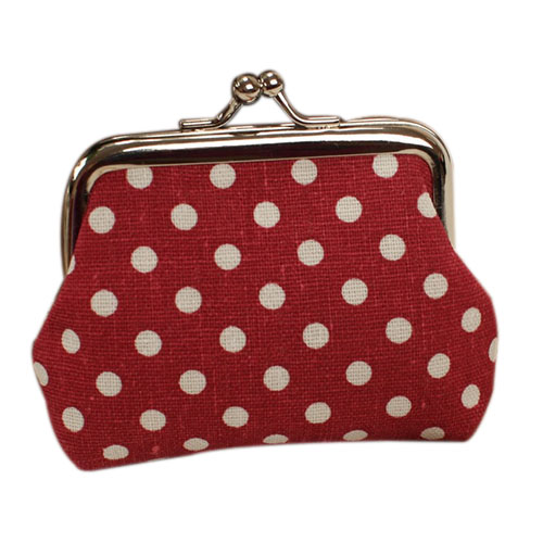 VSEN 10pcs Cute Girl Mini Purse Polka Dots Pattern Coin Change Key Pouch Snap Closure