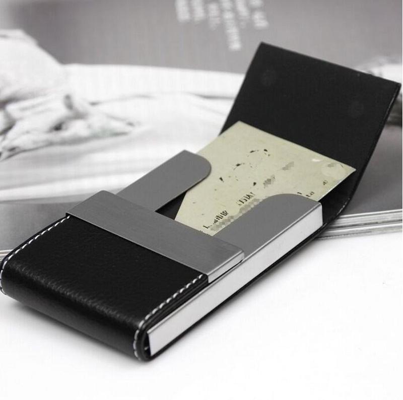 Ikeacasa I-Clip Card Holder Credit Card Holder Fashion Unisex Visit Card Case Metal Wallet PU Leather Solid Steel Box