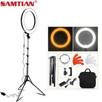 SAMTIAN 18 LED Ring Light Dimmable 3200K 5500K Annular Make up Lamp &Tripod For Studio Photography Lighting GIft Makeup Mirror