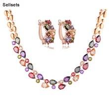 Envío de la alta calidad de la joyería conjunto chapado en oro multicolor cubic zirconia regalos de navidad para las mujeres