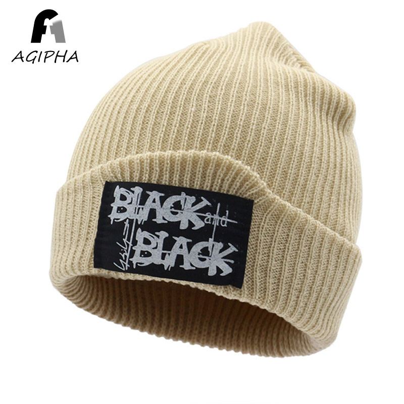 8679cbfeee38e Big label winter hats for men women Solid knitted hat caps Unisex warm  skullies beanies cap
