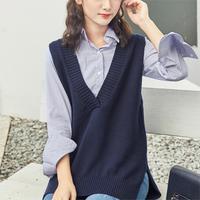 2018 autumn women pullover cardigan long split turtleneck sweater sleeveless sweater women