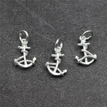 Real 925 Sterling Silver Accessories Anchor Charm Pendant DIY Bracelet Necklace Fine Jewelry  Making A0227