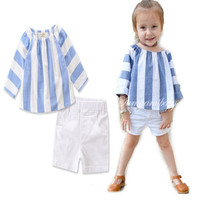 New Girls set for Summer sweet baby clothes girls Striped blue T Shirt + white shorts Children Clothing
