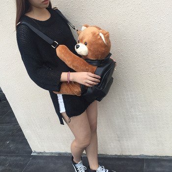 ฤดูหนาวผู้หญิง/สาวแฟชั่นเครื่องหนังกระเป๋าเป้สะพายหลังตุ๊กตาหมี
