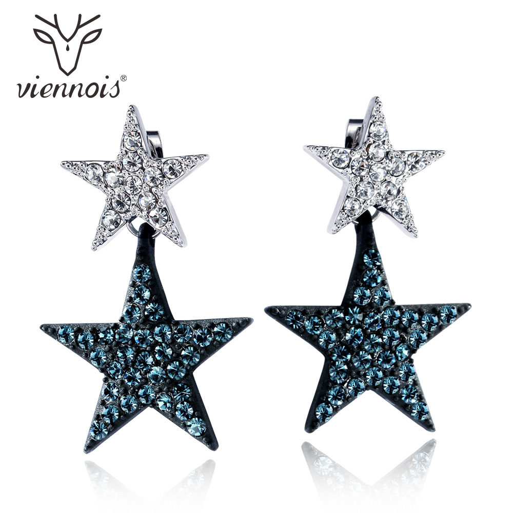 все цены на Viennois Mixed Color Abstract Star Drop Earrings For Women Geometric Rhinestone Dangle Earrings Two Wearing Fashion Jewelry