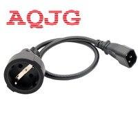 IEC 320 C14 3Pin Male Plug to CEE 7/7 European SCHUKO Socket Female Adapter Cable 50CM EURO UPS/PDU Power Cord 1 pcs Wholesale