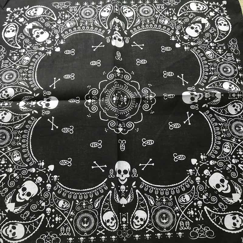 2018 New Fashion Hip Hop 100% Cotton Skull Bandana Square Scarf Black Paisley Bicycle Headband Printed For Women/Men/Boys/Girls(China)