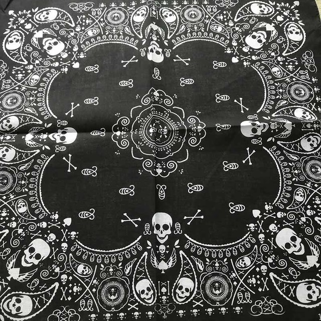 83a4d689634 2018 New Fashion Hip Hop 100% Cotton Skull Bandana Square Scarf Black  Paisley Bicycle Headband Printed For Women Men Boys Girls