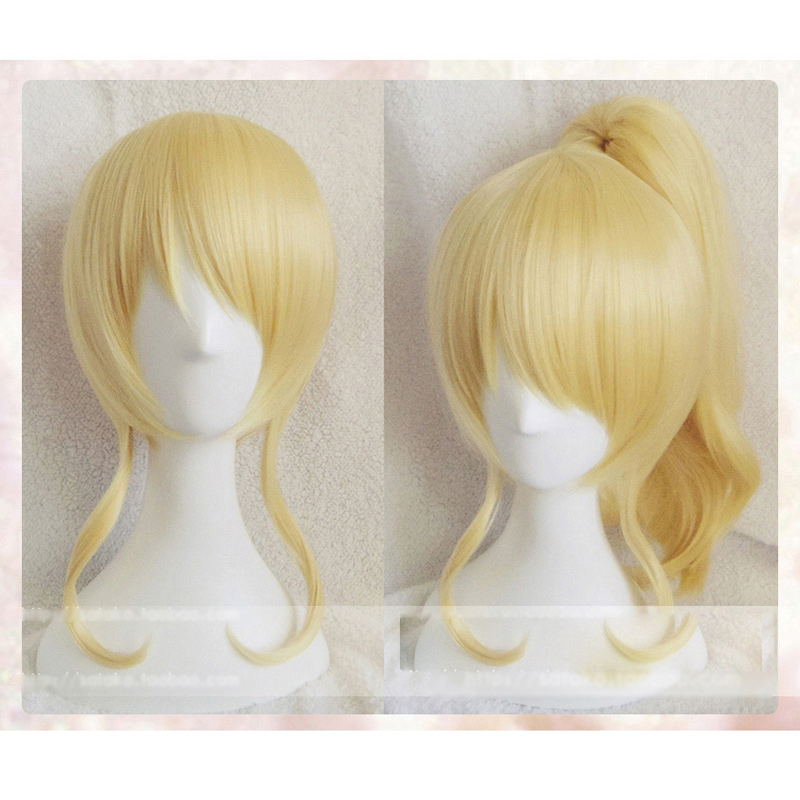Love Live Eli Ayase Ellie Golden Culy Synthetic Short Cosplay Wig Hair With One Chip Ponytail Heat Resistance Fiber+Hairnet