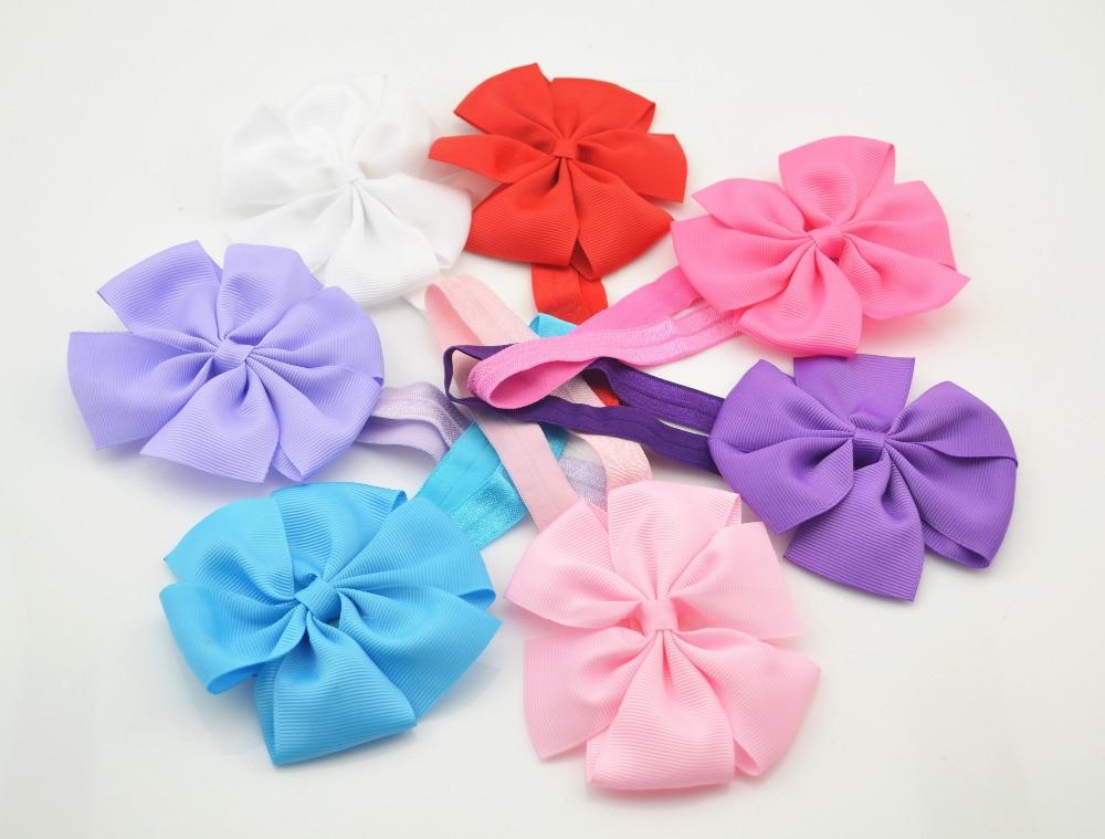Cute Kids Girls Headband Bowknot Headbands Solid Color Hair Bows Hair Band Hair Accessories
