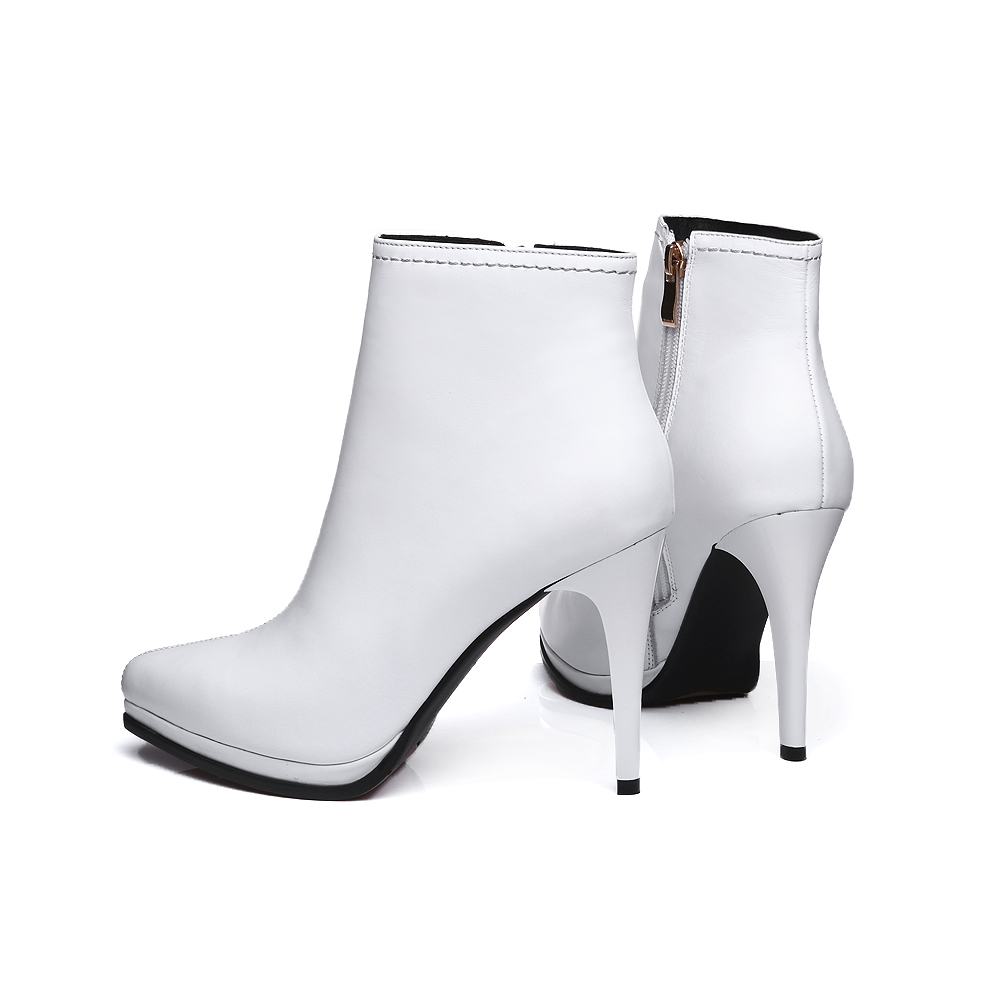 Mode Cheville 2017 Court Chaussures Blanc Zipper Hiver Talons Black white Bottes Stiletto Hauts Pour Véritable Furtado Femme Arden De Cuir pw5ax6aY