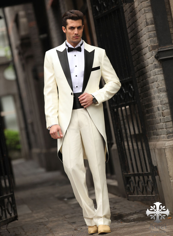Latest Coat Pant Designs Ivory Tailcoat Wedding Suits For