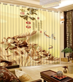 3D Curtains Bed Room Living Room Yellow Background Wood Carving Lotus Leaf Custom Any Size 3D Curtain Blackout Shade Window