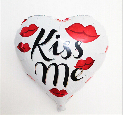 2 Pcs/Lot 18 Inch Kiss Me & I Love You Heart-Shaped Balloon Wedding Marry Foil H