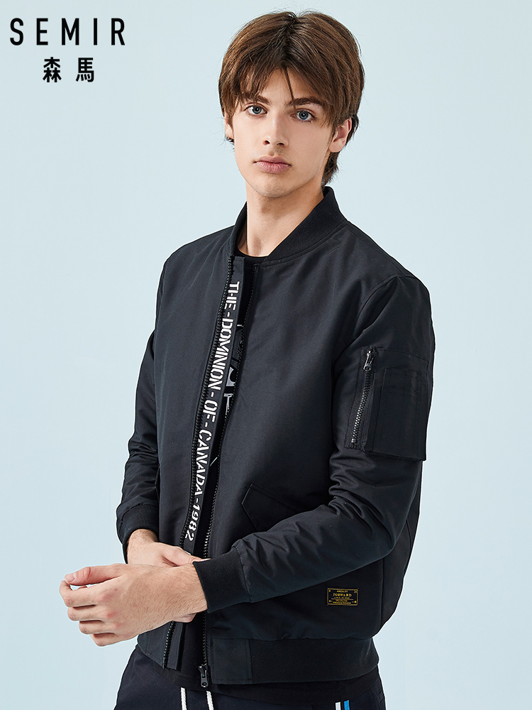 SEMIR Men Bomber Jacket Men's Baseball Jacket With Zip Pocket Sleeve Men Waterproof Zip Jacket With Front Pocket Fashion