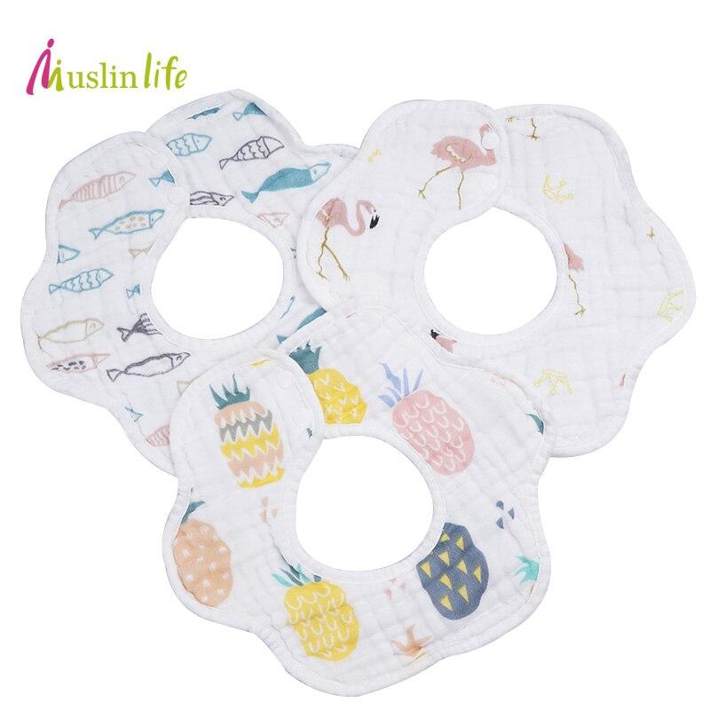 Muslinlife High quality 8 layers cotton baby bibs Burp Cloth,360 Cute Flamingo baby bandana bibs,Soft Bibs Boys(3pcs/lot)