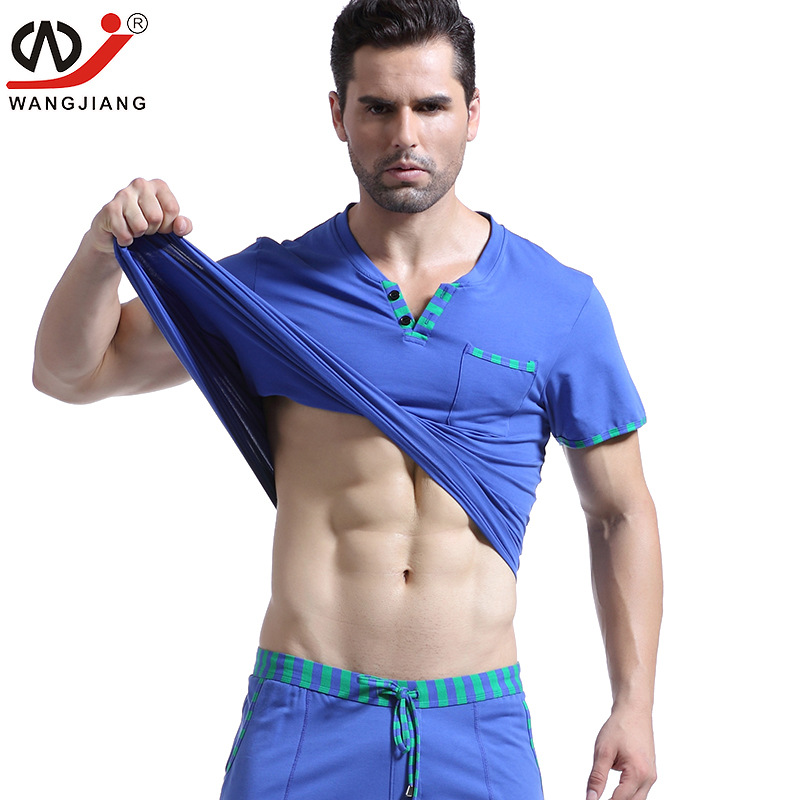 WJ Mens Casual Wear Cotton Clothes Home Furnishing V Neck Short Sleeved Men Comfortable Shirt(not Include Pants)