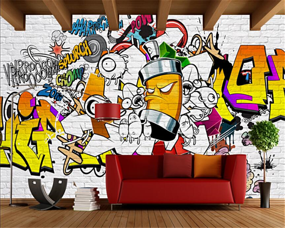 Graffiti wall art bedroom - Beibehang Custom Wall Wallpaper European And American Trend Street Graffiti Bar Ktv Backdrop Living Room Bedroom Mural Wallpaper