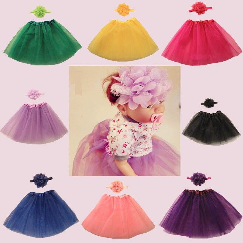 Newborn Toddler Girls Baby Tutu Skirt Headband Bow Set Dress Birthday Photo Prop