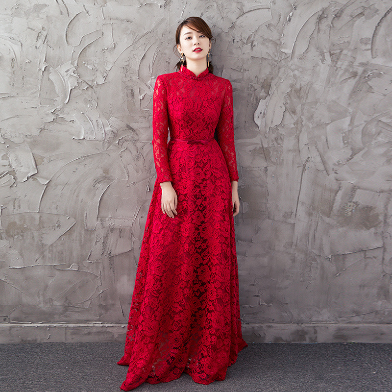 Beauty Emily Long Red   Evening     Dress   2019 Formal Lace Appliques Bridal   Dresses   Elegant Ruched Party   Dresses   Vestido de noche