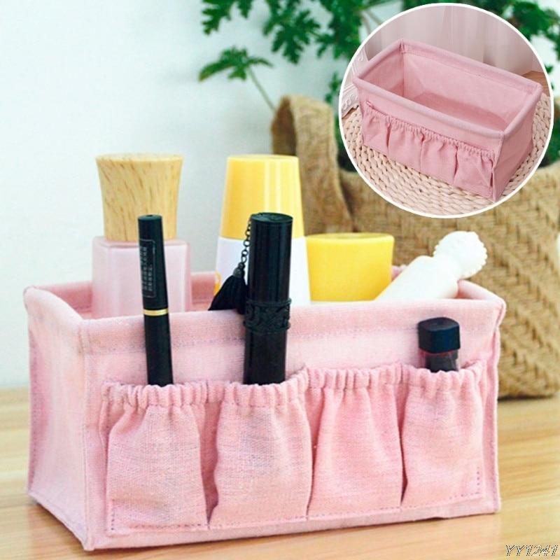 Home Foldable Makeup Organizer Multifunction Linen Cosmetic Storage Box Desktop Dressing Jewelry Small Storage Box-W110
