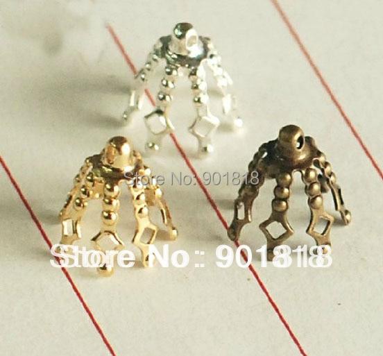 30 unids/lote plata/oro/bronce tapas borla end caps joyas accesorios F2