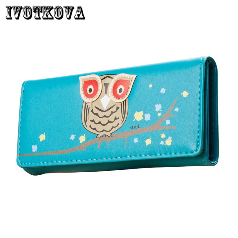 IVOTKOVA New Women Fashion Wallets Owl Long Pu Leather Female Money Purses with the Card Holder Gift for the Daughter Girl ...