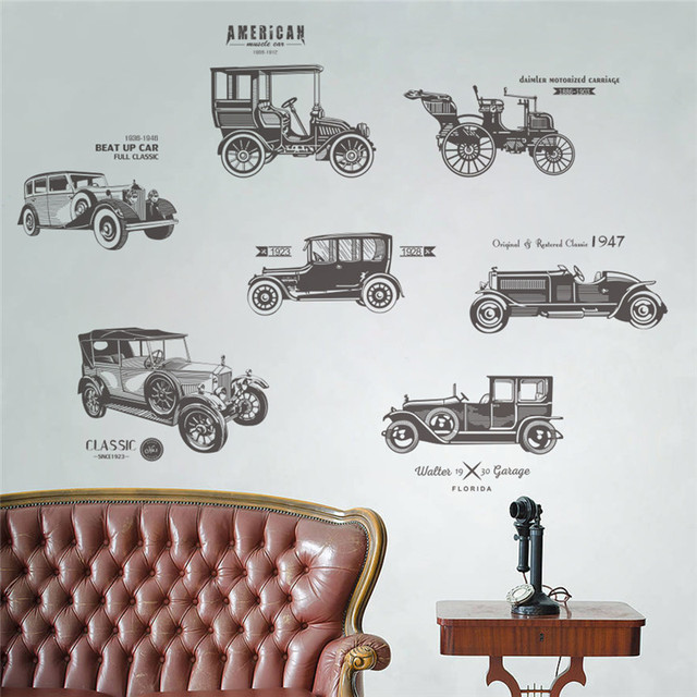 Vintage Car Wall Stickers For Kids Rooms Children Nursery Boy Room Decals Poster Home Decor