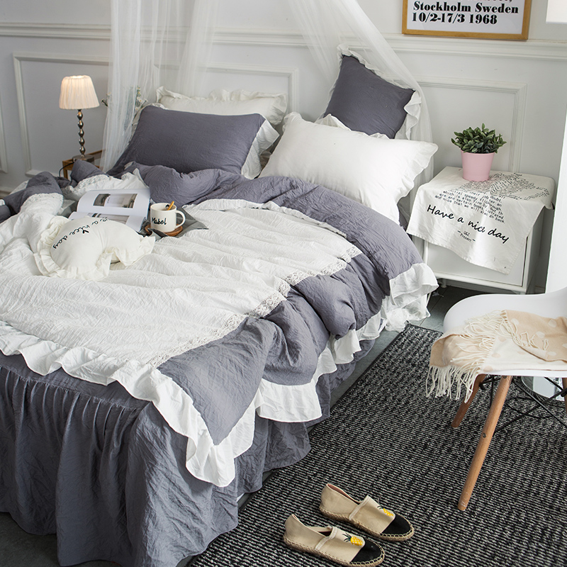 4Pcs washed modal Patchwork lace pure Bedding Set Cool summer Queen King size Duvet cover set Bed skirt Pillowcases bed linen - 3