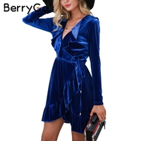 BerryGo Ruffle velvet sexy dress women Deep V sash short dress Autumn winter 2017 long sleeve wrap dress female vestido de festa