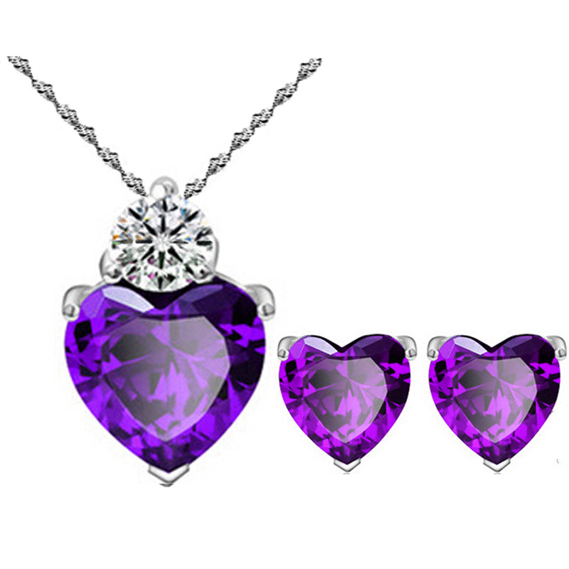 Heart Crystal Jewelry Set For Women Love Heart Necklace Earring Set Wedding Jewelry Parure Bijoux Femme