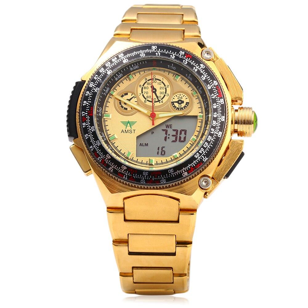 AMST Full Golden Gold Stainless Steel Men s Watch Clock Man Dual Time LED Digital Anolog